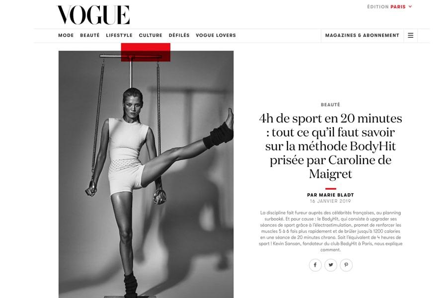 Vogue magazine prône la méthode BODYHIT !